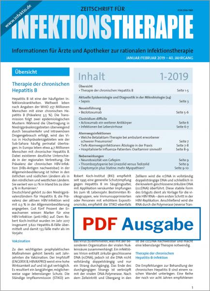 PDF Ausgabe - Zeitschrift für Infektionstherapie 01/2019