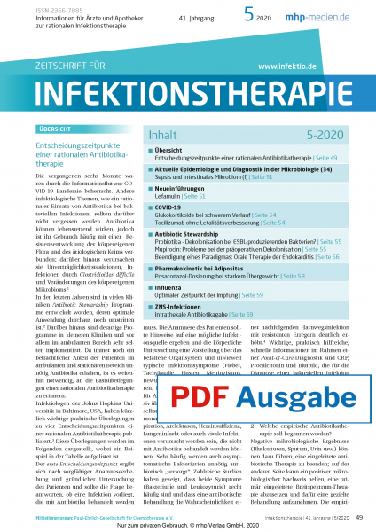 PDF Ausgabe - Zeitschrift für Infektionstherapie 05/2020