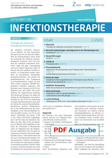 PDF Ausgabe - Zeitschrift für Infektionstherapie 02/2020